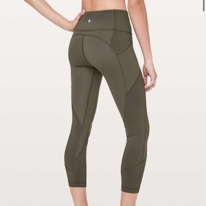 Lululemon All the Right Places Crop in Olive